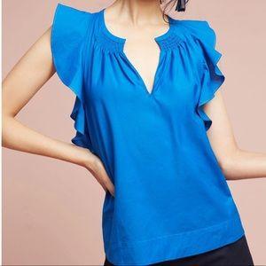 HD in Paris Ruffle Poplin Blouse Blue size 10 New